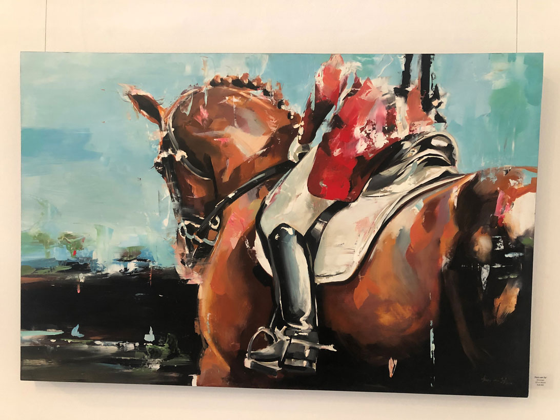 <p>Dressage<br>Floris Van Zyl Oil on board</p>