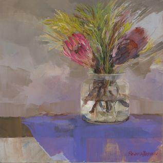 Protea In Glass Vase